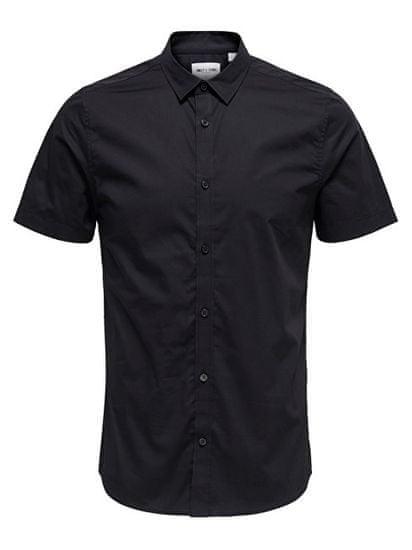 ONLY&SONS Pánska košeľa Alfredo SS Shirt Noos Black (Veľkosť S)