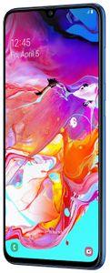 Samsung Galaxy A70, czytnik linii papilarnych na wyświetlaczu, odblokowanie poprzez wykrywanie twarzy, wygodne i bezpieczne odblokowanie.