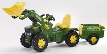 Rolly Toys Lábbal hajtható traktor Farmtrac John Deere utánfutóval