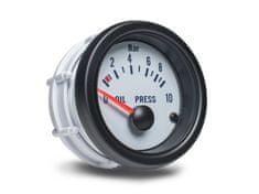 Auto Gauge palubní přístroj - tlak oleje s bílým podkladem