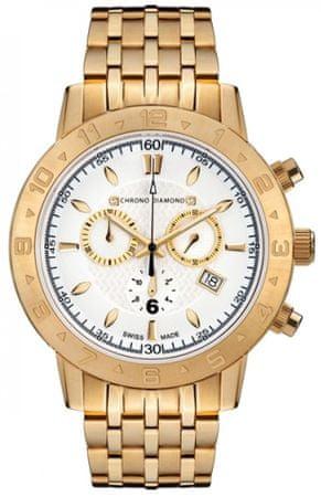 Chrono Diamond pánske hodinky 11600F Herrenuhr Hektor Gold IP II