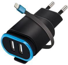 Forever Cestovní dobíječ 2× USB 2,4 A TC-02 s Lightning kabelem, černý GSM032682