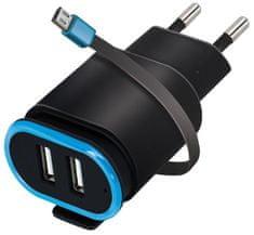 Forever Ładowarka podróżna 2× USB 2,4 A TC-02 z przewodem microUSB, czarna GSM032683