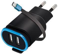 Forever Ładowarka podróżna 2× USB 2,4 A TC-02 z przewodem USB-C, czarna GSM032684