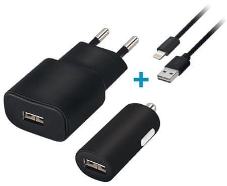 Forever Cestovní dobíječ a autodobíječ USB 2 A s Lightning kabelem GSM032862