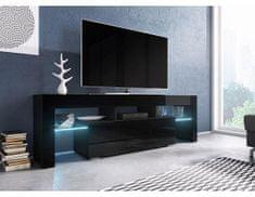 FORLIVING Televizní stolek Toro - Dezén černá-černý lesk, bez osvětlení