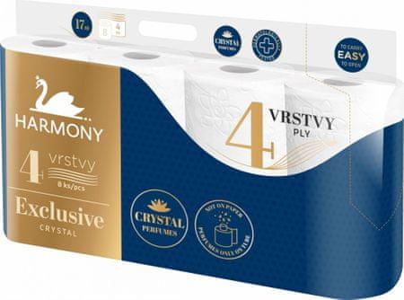 Harmony Toalett papír EXCLUSIVE Crystal Parfumes 7x 8, 4rétegű