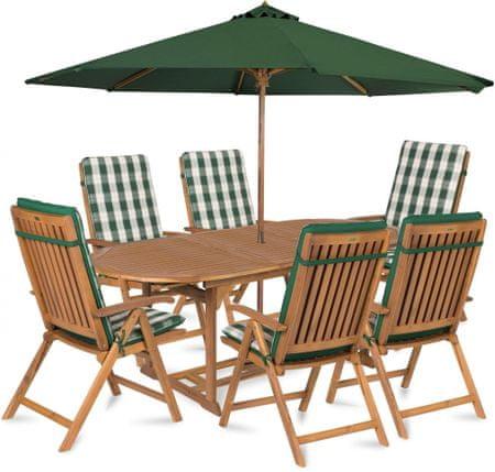 Fieldmann zestaw ogrodowy CARMEN 6 z parasolem i poduszkami, zielone pasy