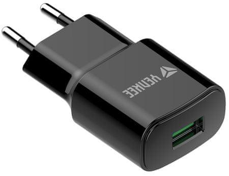 Yenkee mrežni punjač YAC 2023BK USB, QC 3.0, crni