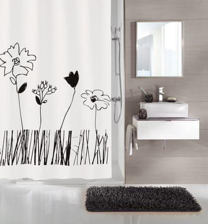 Kleine Wolke Zasłona prysznicowa PEVA GRACE 180 x 200 cm czarno-biała
