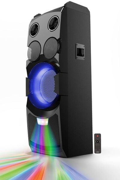 přenosný reproduktor akai abts-w5 extravagantní designový kousek led světla párty aux vstup čistý zvuk mic vstup mikrofon součástí balení podsvícení ovládání