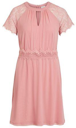 VILA Dámské šaty Vifinnea S/S Dress/Dc Brandied Apricot (Velikost M)