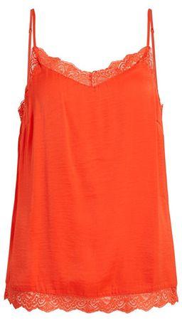 VILA Top damski Cava Lace Single t-Fav Cherry Tomato (rozmiar XS)