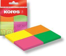 KORES  notes bločky 40 x 50 mm / 4 neónové farby