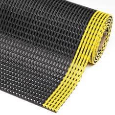 Černo-žlutá olejivzdorná protiskluzová průmyslová rohož Flexdek - 10 m a 1,2 cm