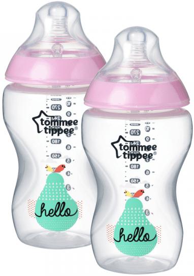 Tommee Tippee Kojenecká láhev C2N s obrázky růžová 2ks 340ml 3m+