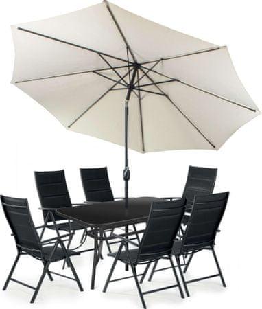 Fieldmann zestaw ogrodowy MELISA 6 z parasolem, kremowy