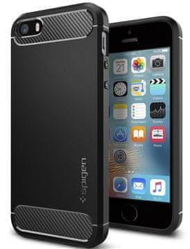 Spigen Rugged Armor Védőtok Apple iPhone 5 telefonhoz, fekete 041CS20167