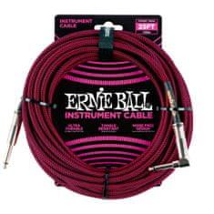 Ernie Ball 6062 25' Instrument Braided Cable - nástrojový kabel rovný / zahnutý jack - 7.62m - červenočerná barva