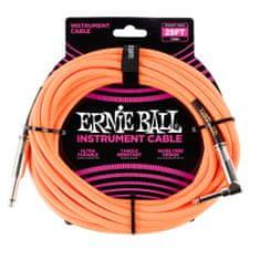 Ernie Ball 6067 25' Instrument Braided Cable - nástrojový kabel rovný / zahnutý jack - 7.62m - neonově oranžová barva