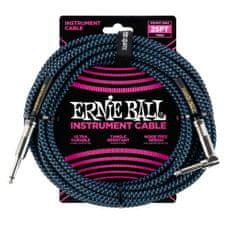 Ernie Ball 6060 25' Instrument Braided Cable - nástrojový kabel rovný / zahnutý jack - 7.62m - modročerná barva