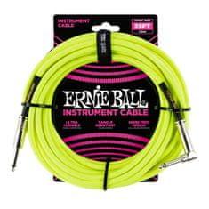 Ernie Ball 6057 25' Instrument Braided Cable - nástrojový kabel rovný / zahnutý jack - 7.62m - neonově žlutá barva