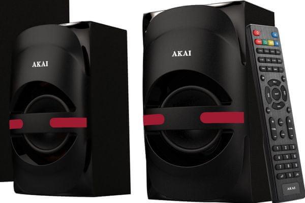 reproduktorová 5.1 soustava akai ht014a-5086f rca vstup Bluetooth síťový provoz usb kabel led displej usb vstup line-in 105 W rms výkon