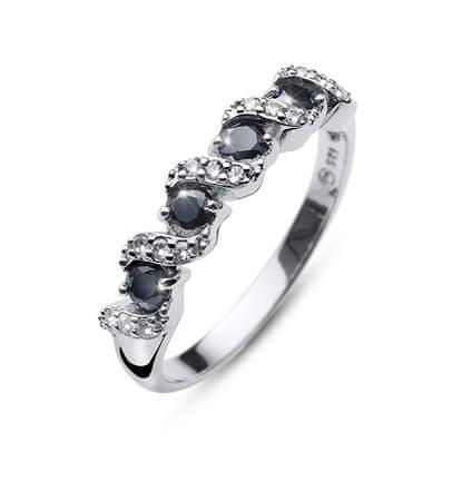 Oliver Weber Oryginalny pierścionek z kryształkami Paso 63236 BLA (obwód L (od 56 do 59 mm)) srebro 925/1000
