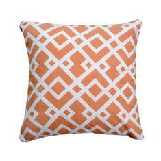 Vankúš, bavlna/vzor oranžová/biela,30x30, NOVEL TYP 2