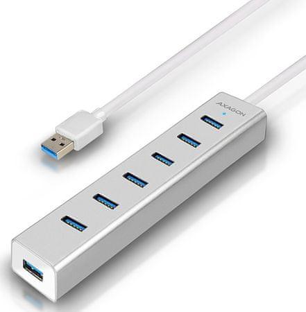 AXAGON HUE-SA7SP, 7× USB 3.0 Alu Charging hub vč. AC adaptéru, stříbrný