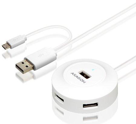 AXAGON HUE-X6G, 4× USB 2.0 hub, 80cm kabel, OTG, bílý