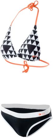 Aqua Wave dvodijelni kupaći kostim Aziba, Wmns Geometric Print/Black/Fresh Salmon, crno bijeli, L