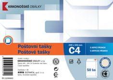 KRKONOŠSKÉ OBÁLKY Poštovní taška C4 bílá rec. samolepicí s KP, 229 x 324 50 ks