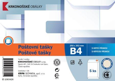 Poštovní taška B4 bílá rec. samolepicí s KP, 250 x 353, 5 ks