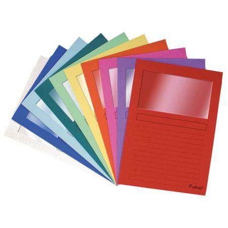 Obal s okénkem EXA A4 papírový /10 ks mix barev