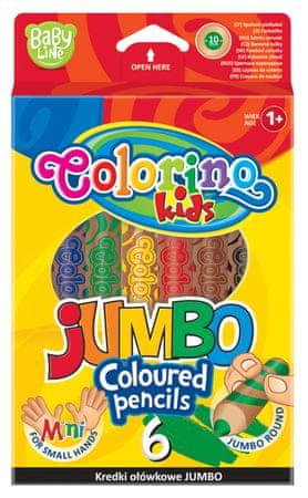 Pastelky kulaté Colorino EXTRA JUMBO 6 barev + ořezávátko 1+