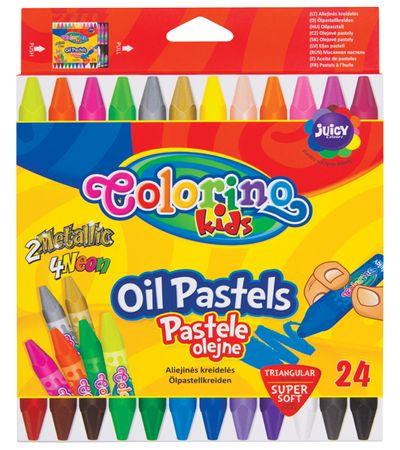 Pastely olejové trojhr. Colorino Kids 24 barev (zlatá, stříbrná, 4x neon)