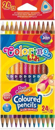 Pastelky trojhranné obojstranné 24 farieb (12 ks) Colorino Kids