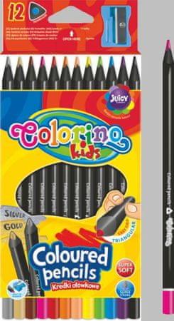 Pastelky trojhranné Colorino černé 12 ks + ořezávátko