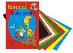 Papiere farebné zložka A4, 8 hárkov - lepiaca