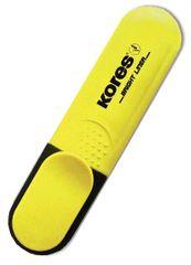 KORES Zvýrazňovač plochý žltý