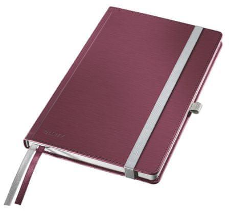 LEITZ Zápisník Style A5 tvrdé dosky štvorčekový granátovo červený