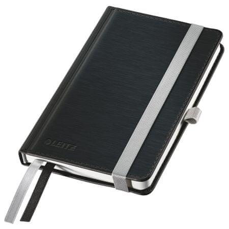 LEITZ Zápisník Style A6 tvrdé dosky linajkový saténovo čierny