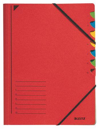 Leitz Třídící desky s gumičkou A4, 7 listů, červené