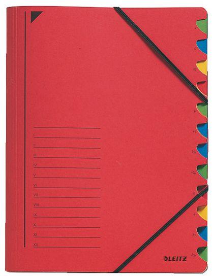 LEITZ Triediace dosky s gumičkou A4, 12 listov, červené