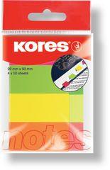 KORES  notes záložky 20 x 50 mm / 4 ks neónové farby