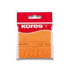 Kores Blok samolepicí 75 x 75 mm/100 oranžový neon