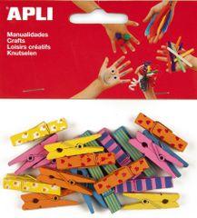Apli Kolíčky dřevěné  barevné velké/20 ks
