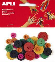 Apli Knoflíky dřevěné  barevný mix průměr 11, 18 a 21 mm/30 ks