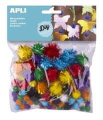 Apli Pom pom  se třpytkami mix velikostí a barev/78 ks